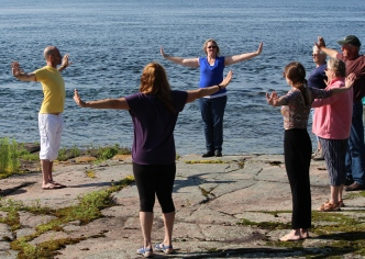 Dan for Subramanya Yoga Centre leads a yoga class on the point