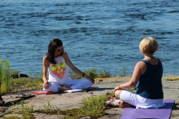Tamara from Studio 44 Yoga Centre directs a meditation class