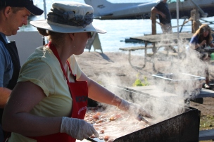 Cooking Bacon on Refugee Island Brockville