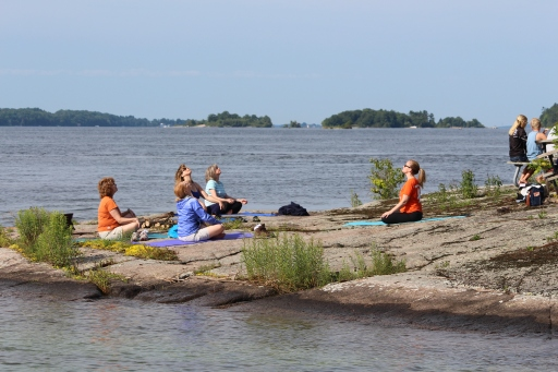 Yoga on the island during Island Breakfast, annual event