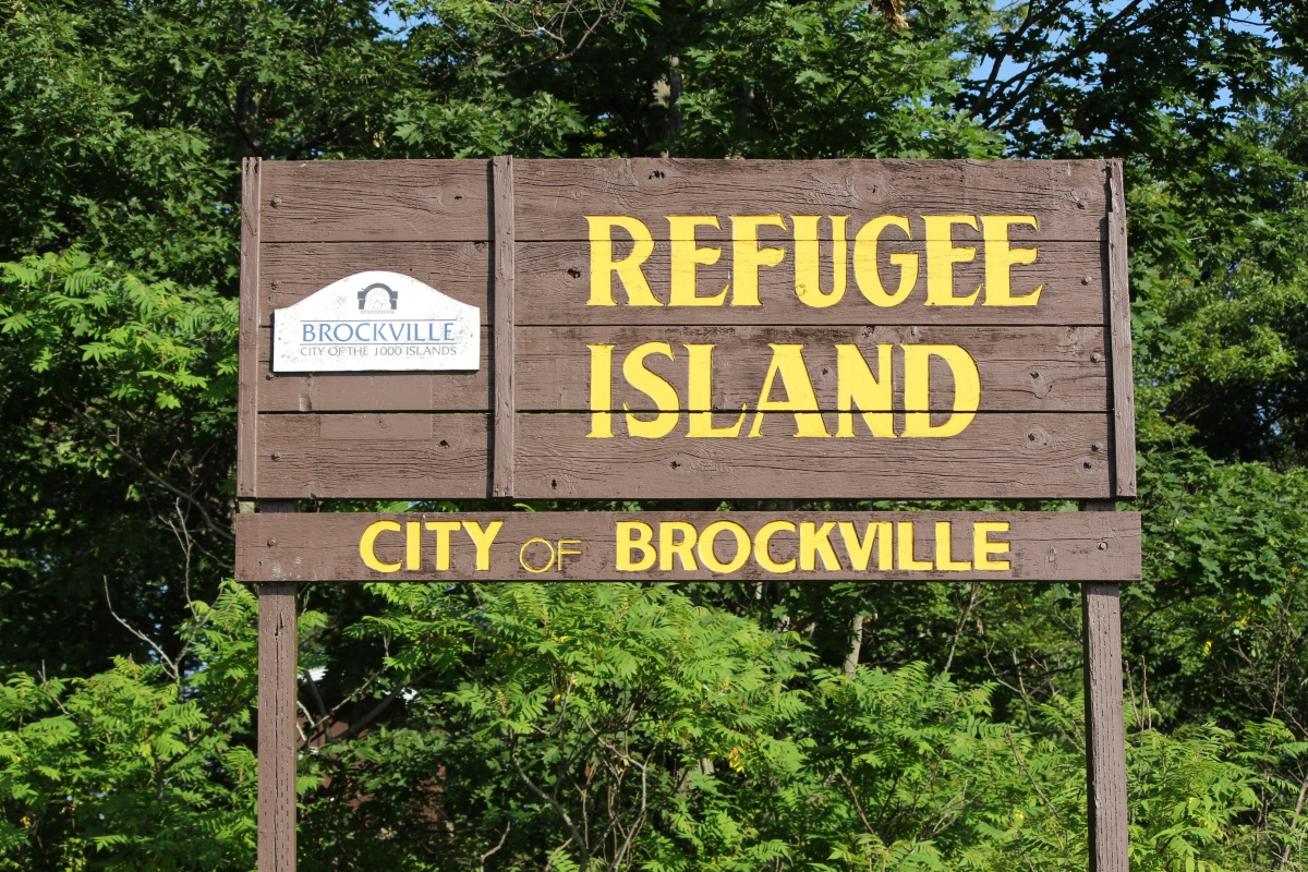 The city sign on Refugee Island