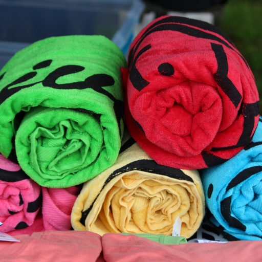 Colourful river towels are available for purchase